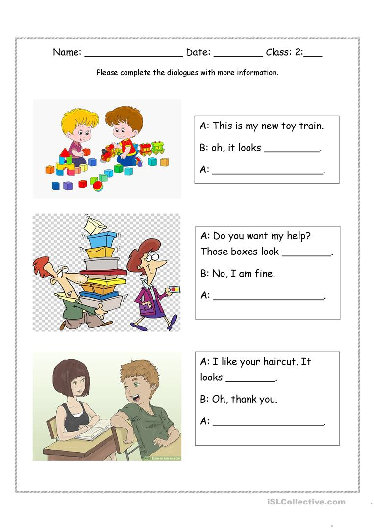 medium resolution of Look + adjective dialogues - English ESL Worksheets for distance learning  and physical classrooms