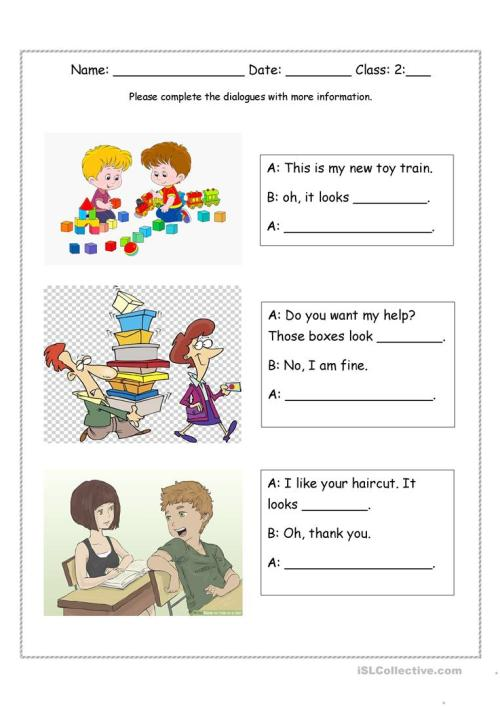 small resolution of Look + adjective dialogues - English ESL Worksheets for distance learning  and physical classrooms