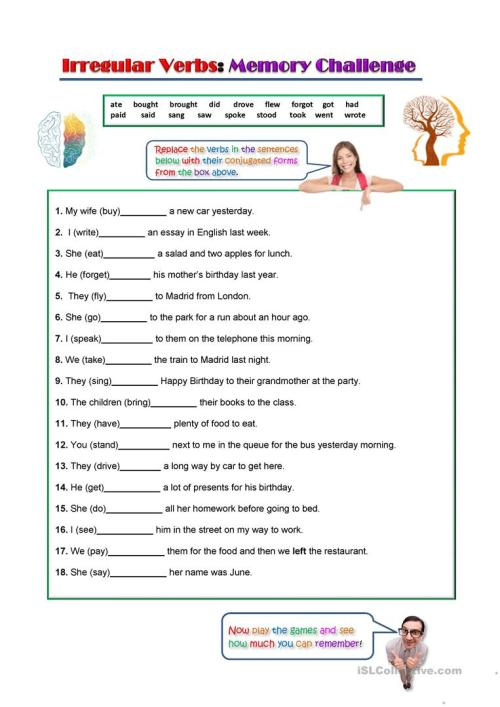 small resolution of Irregular Verbs Worksheet English   www.robertdee.org