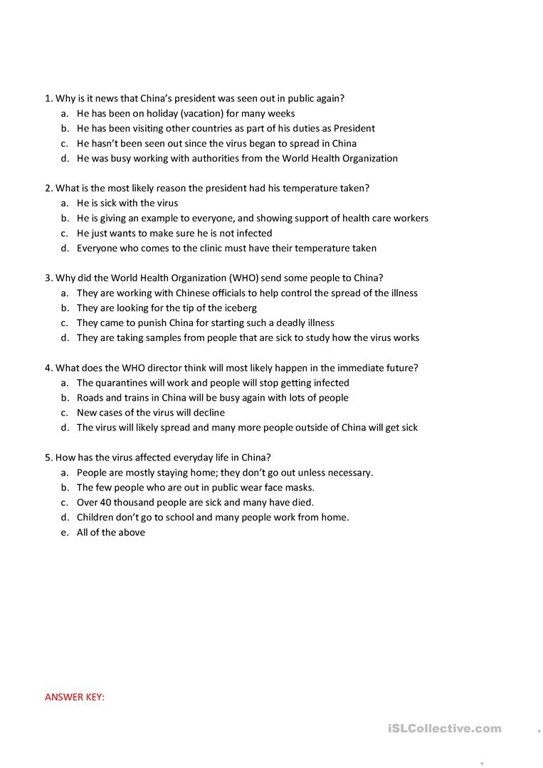 hight resolution of Corona Virus Reading and Comprehension Questions - English ESL Worksheets  for distance learning and physical classrooms