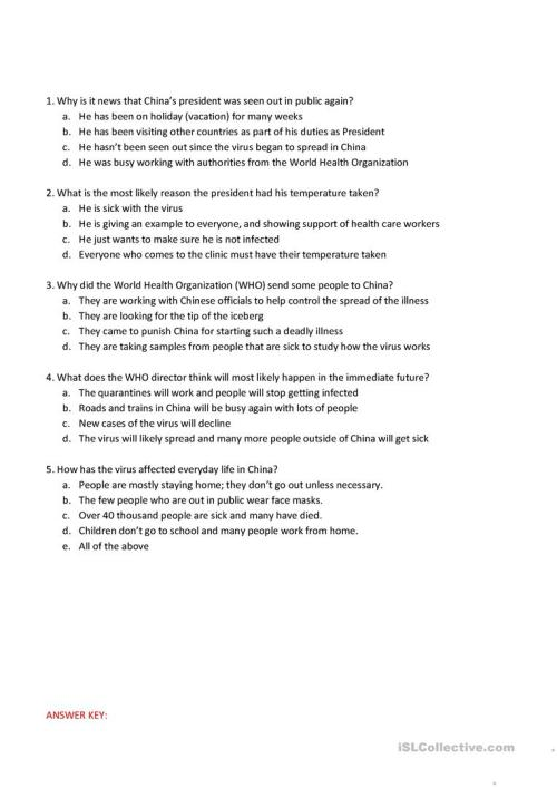 small resolution of Corona Virus Reading and Comprehension Questions - English ESL Worksheets  for distance learning and physical classrooms