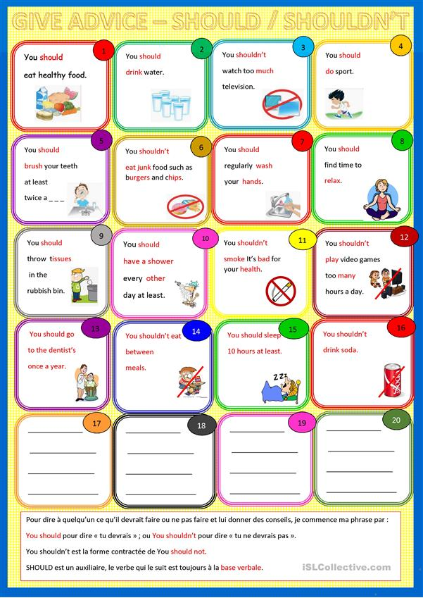 Give Advice Should Good Habits English Esl Worksheets For Distance Learning And Physical Classrooms