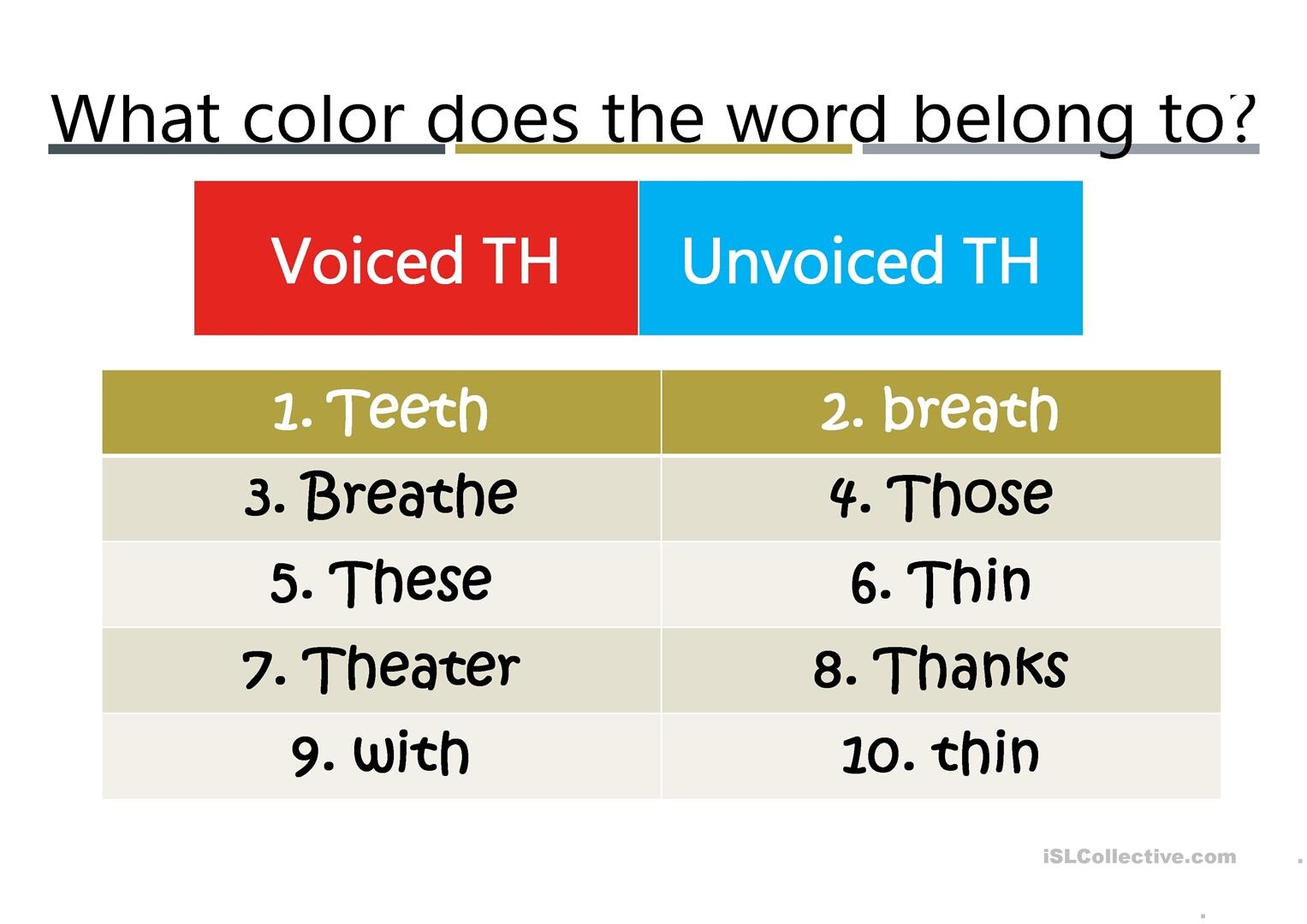 Blends Voiced And Voiceless Th