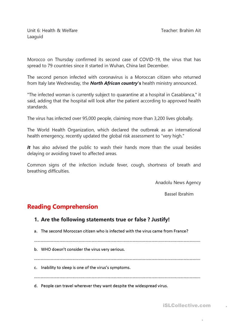 hight resolution of Corona Virus Reading Comprehension - English ESL Worksheets for distance  learning and physical classrooms