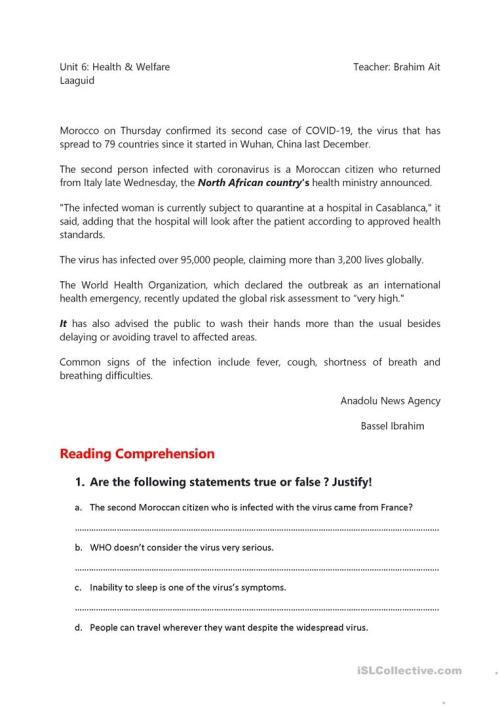 small resolution of Corona Virus Reading Comprehension - English ESL Worksheets for distance  learning and physical classrooms