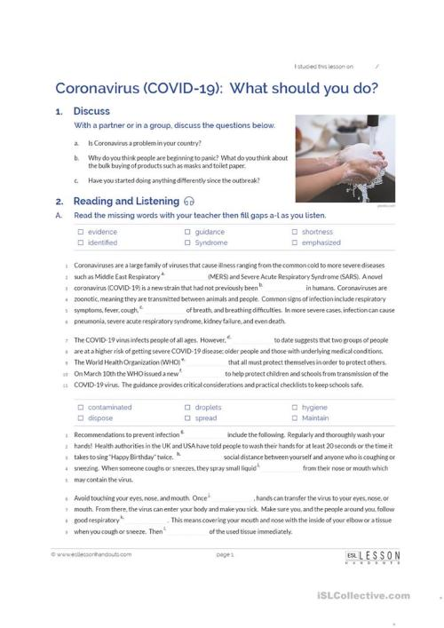 small resolution of Coronavirus (COVID-19): What should you do? - English ESL Worksheets for  distance learning and physical classrooms