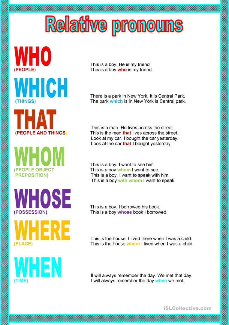 hight resolution of Poster - Relative Pronouns - English ESL Worksheets for distance learning  and physical classrooms