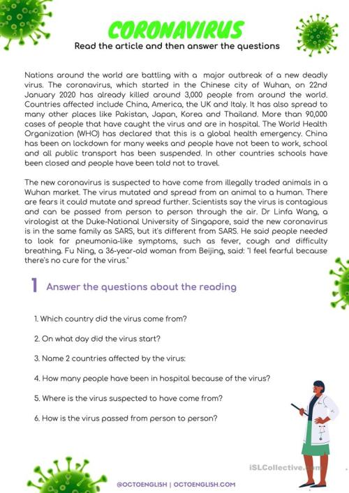 small resolution of Reading Comprehension: Coronavirus - English ESL Worksheets for distance  learning and physical classrooms