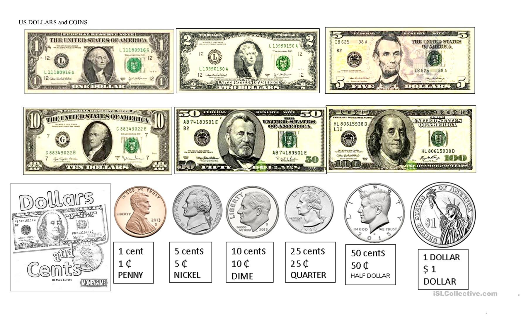 Us Dollars Bills And Coins