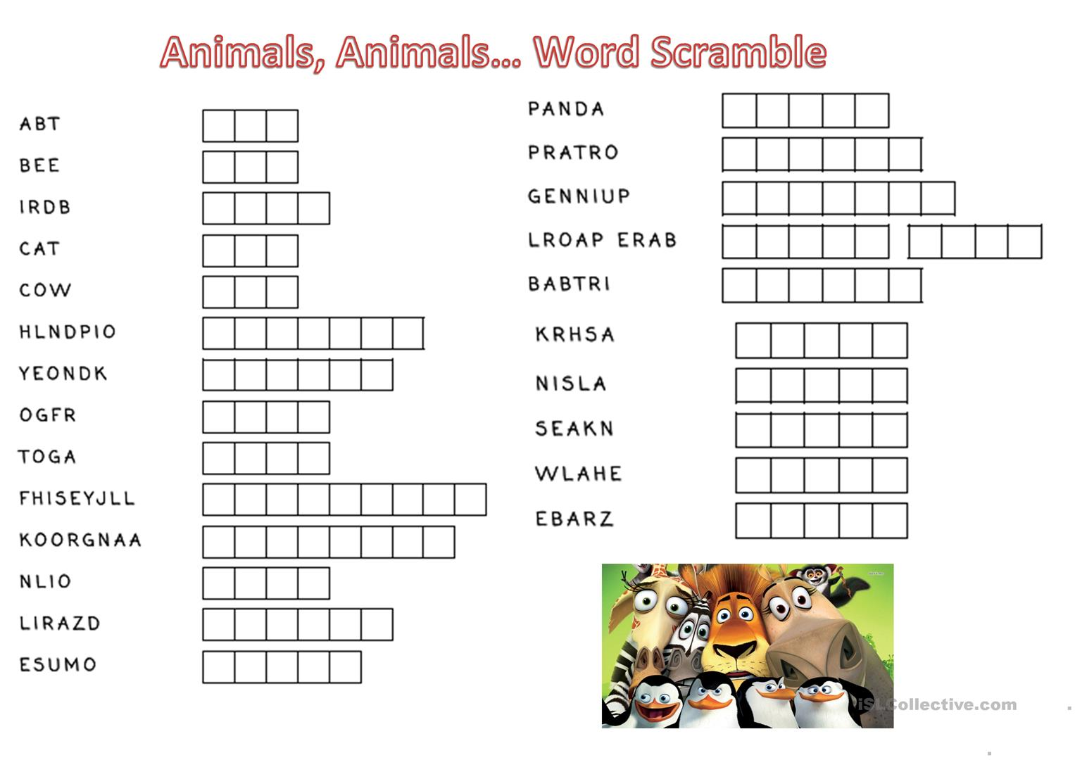 Animals Animals Word Scramble
