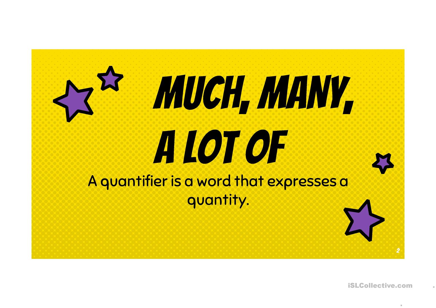 Quantifiers Many Much A Lot Of Few Little