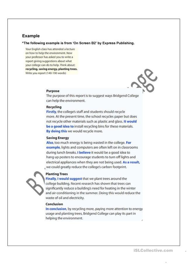 Writing a report - English ESL Worksheets for distance learning