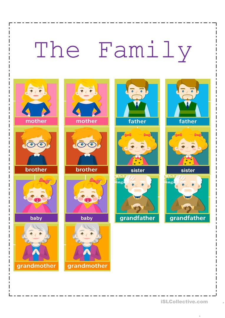 Family Members Memory Game - English ESL Worksheets for distance learning and physical classrooms