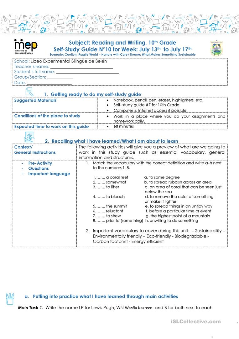 hight resolution of SSG 10 R\u0026W 10 LEBB - English ESL Worksheets for distance learning and  physical classrooms
