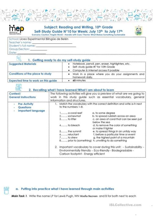 small resolution of SSG 10 R\u0026W 10 LEBB - English ESL Worksheets for distance learning and  physical classrooms
