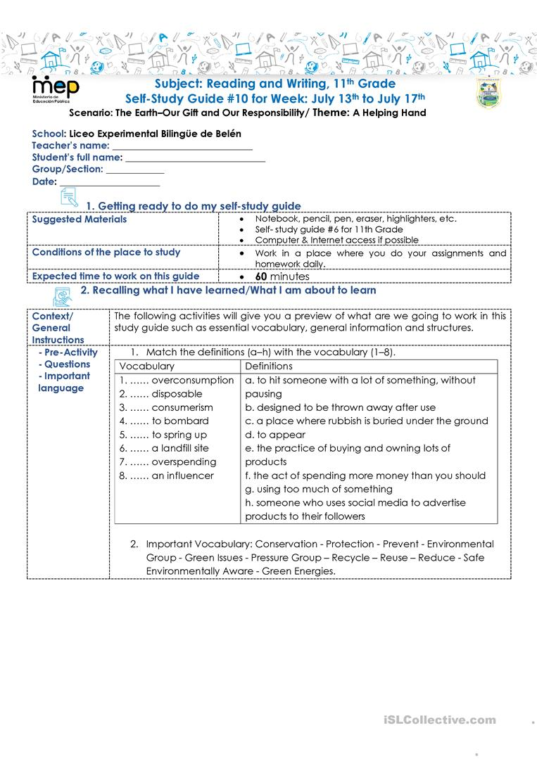 hight resolution of SSG 10 R\u0026W 11 LEBB - English ESL Worksheets for distance learning and  physical classrooms