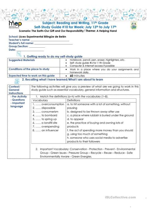 small resolution of SSG 10 R\u0026W 11 LEBB - English ESL Worksheets for distance learning and  physical classrooms