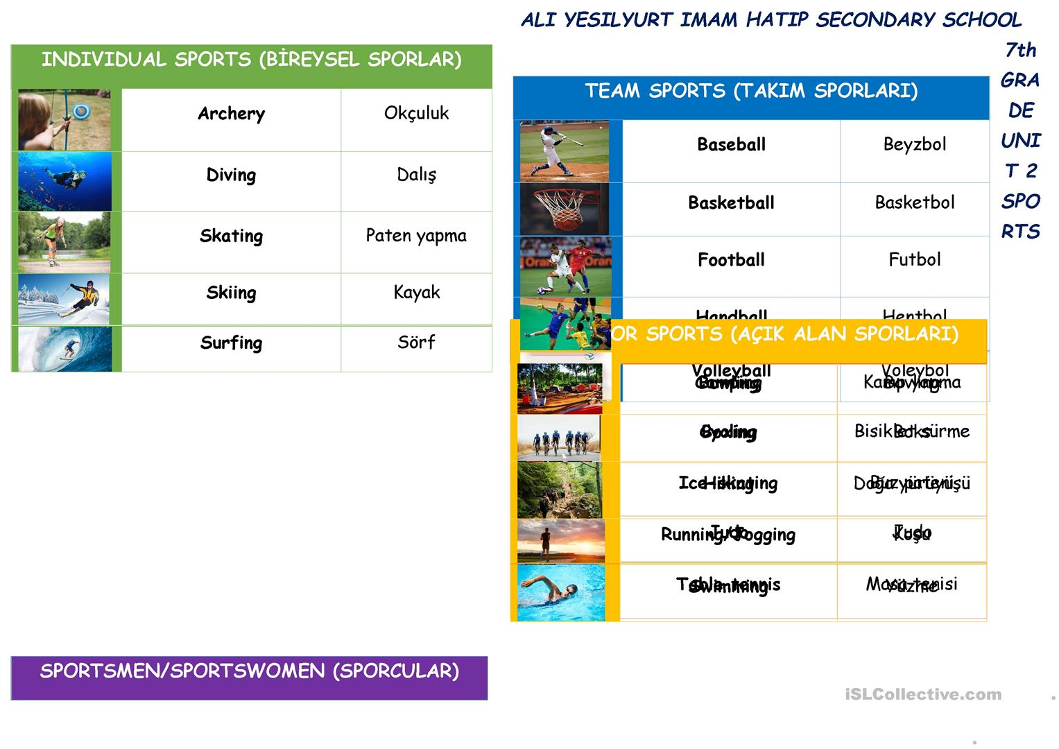 hight resolution of 7TH GRADE UNIT 2 SPORTS VOCABULARY - English ESL Worksheets for distance  learning and physical classrooms