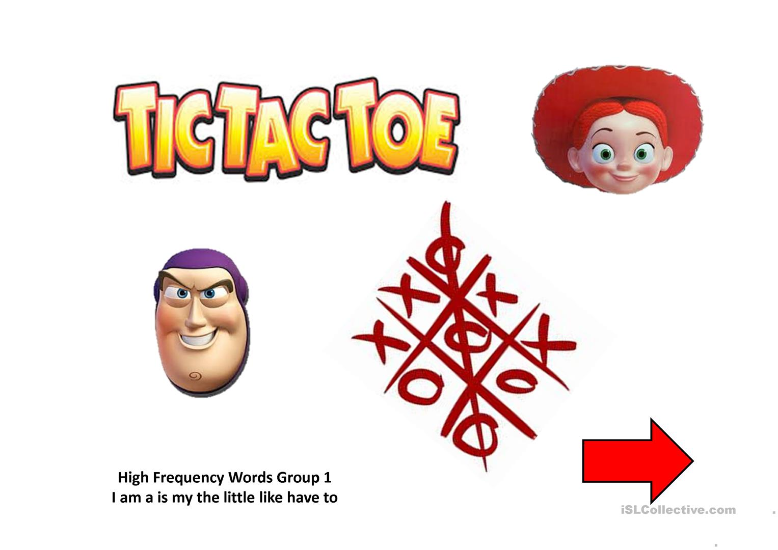 High Frequency Words Tic Tac Toe Toy Story