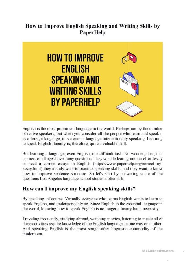 How to Improve English Speaking and Writing Skills by PaperHelp