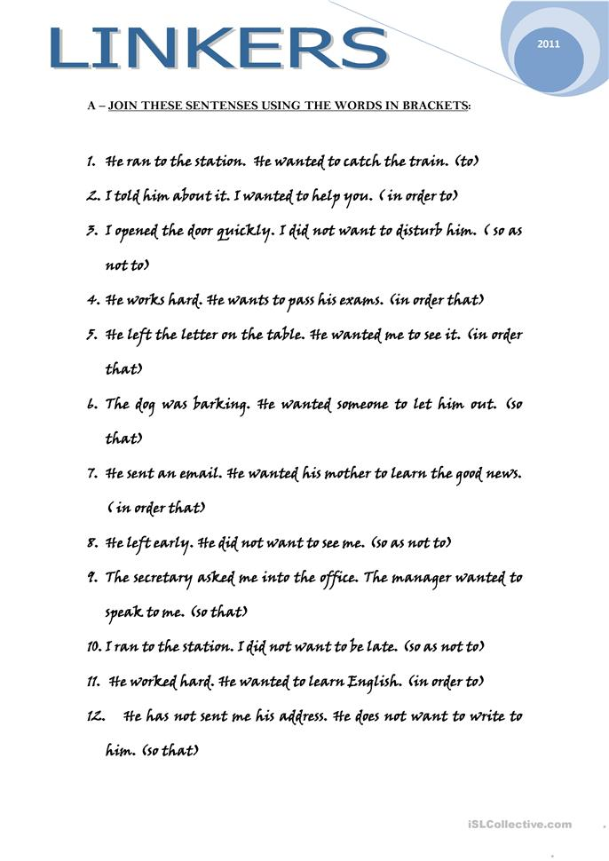 LINKERS Worksheet Free ESL Printable Worksheets Made By