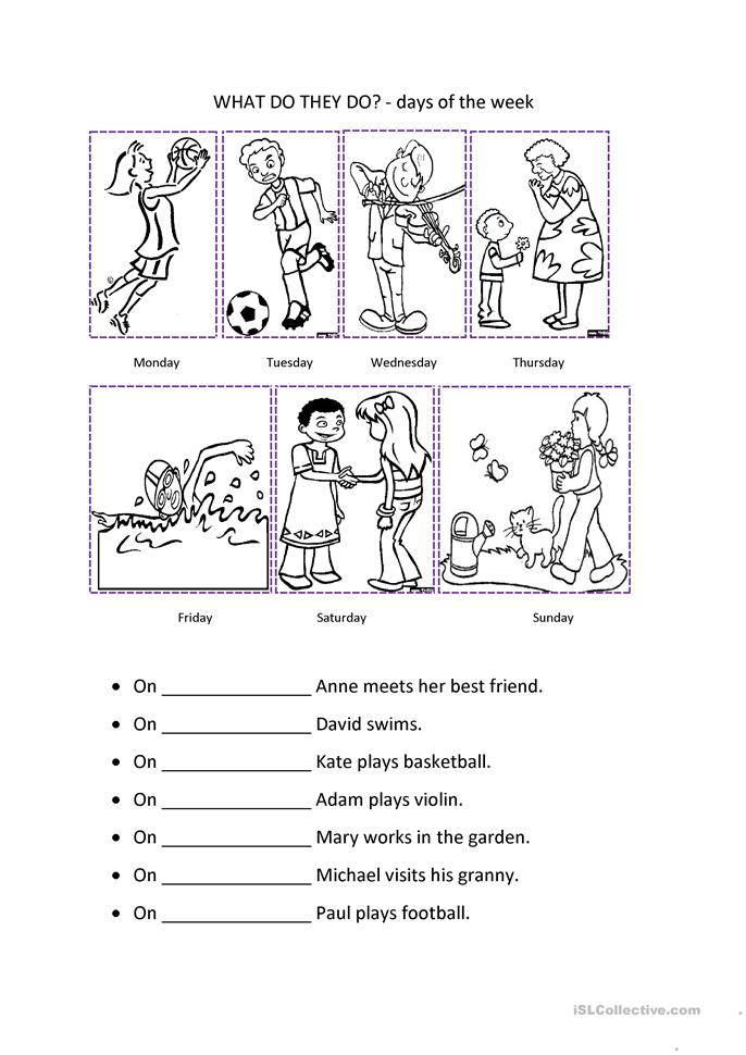 258 FREE ESL Days of the week worksheets