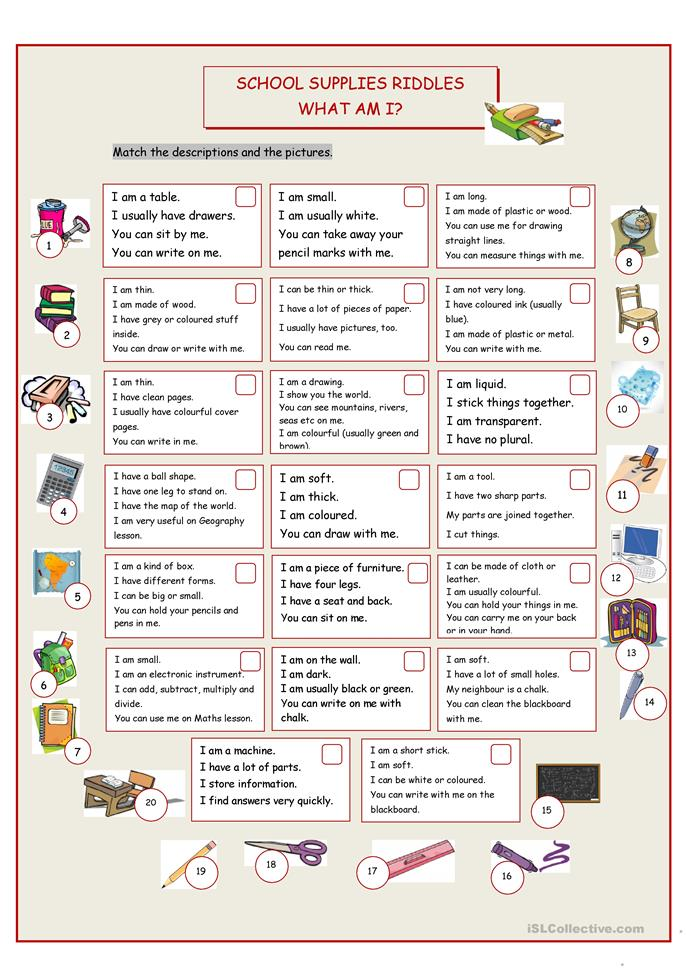 What Am I School Supplies Riddles Worksheet Free ESL