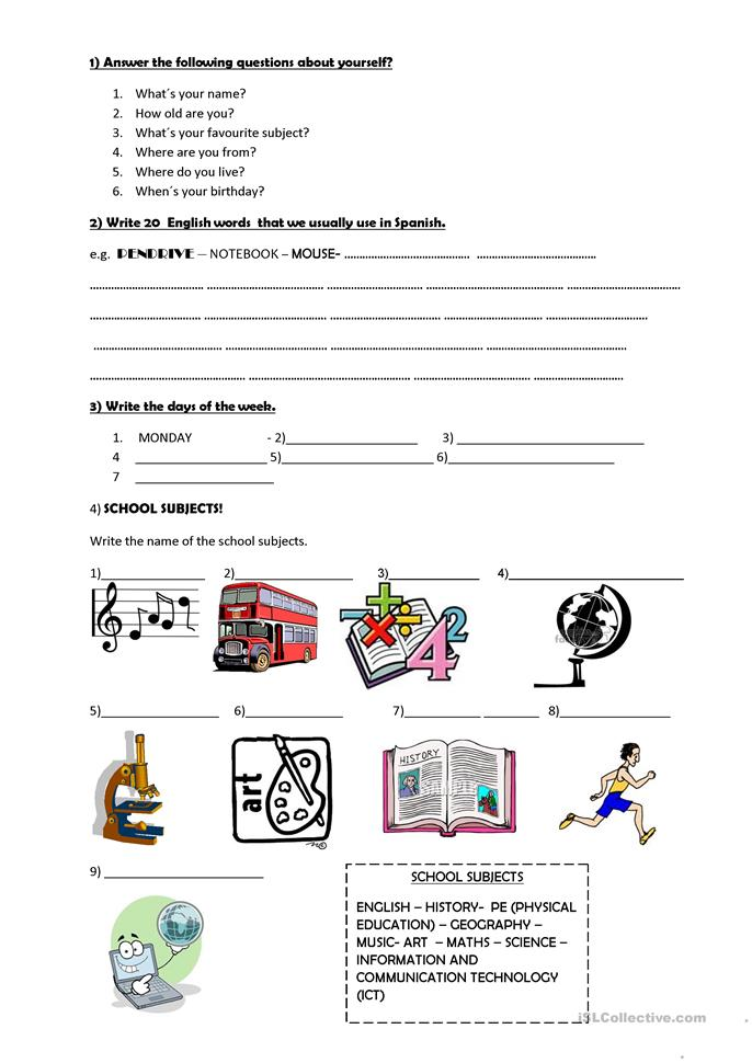 School Subjects Personal Questions Worksheet