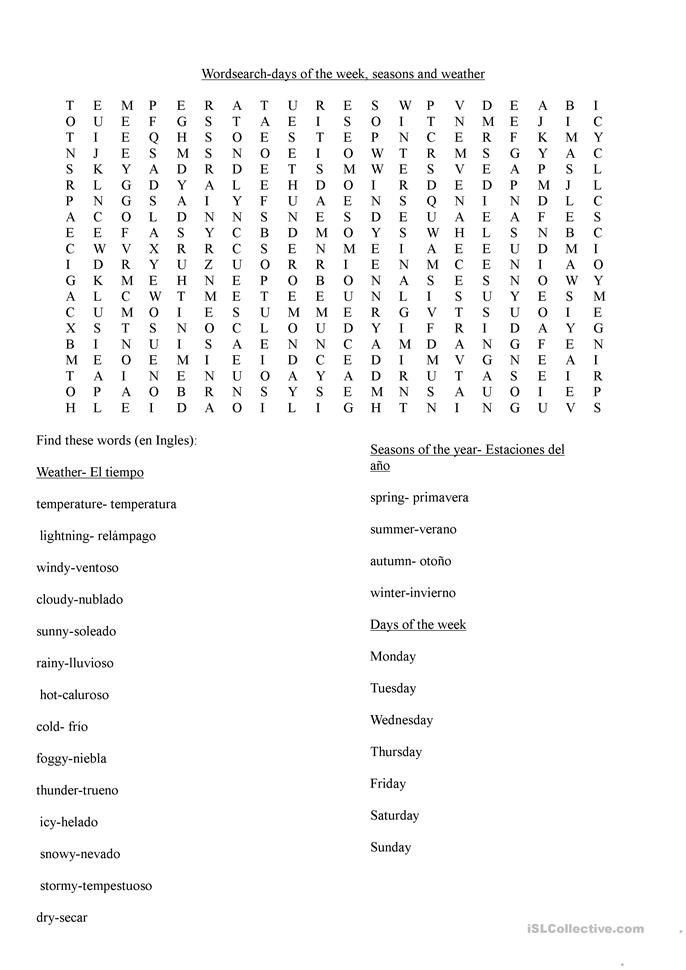 Wordsearch days of the week, weather and seasons worksheet