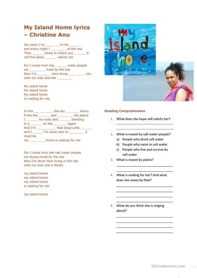 My Island Home Lyrics - Christine Anu worksheet - Free ESL ...