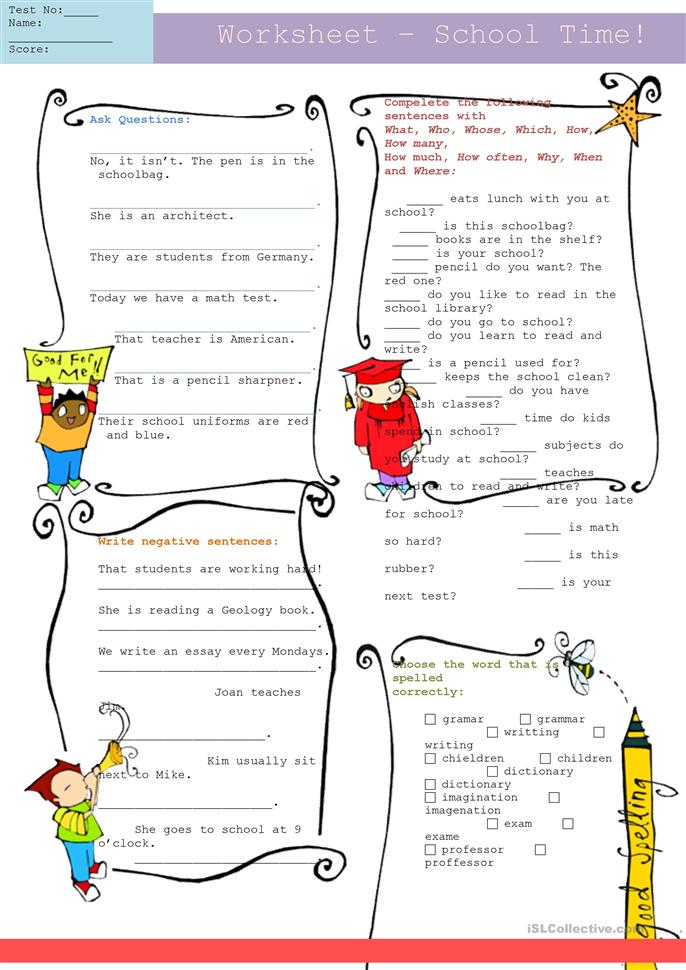 17 Free Esl Interrogatives Worksheets