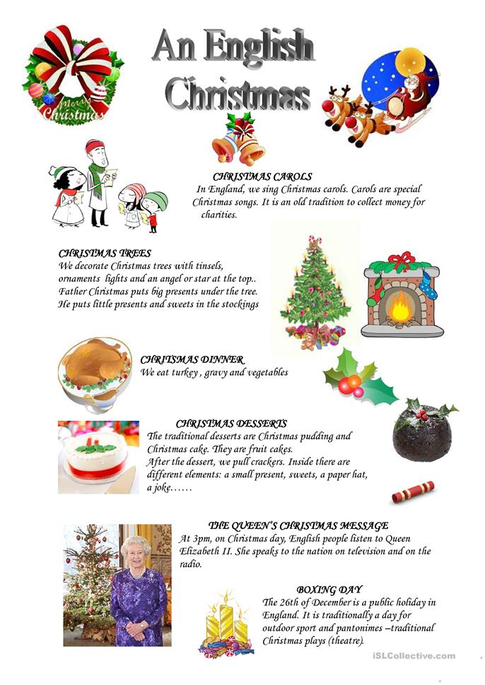 An English Christmas Worksheet Free ESL Printable