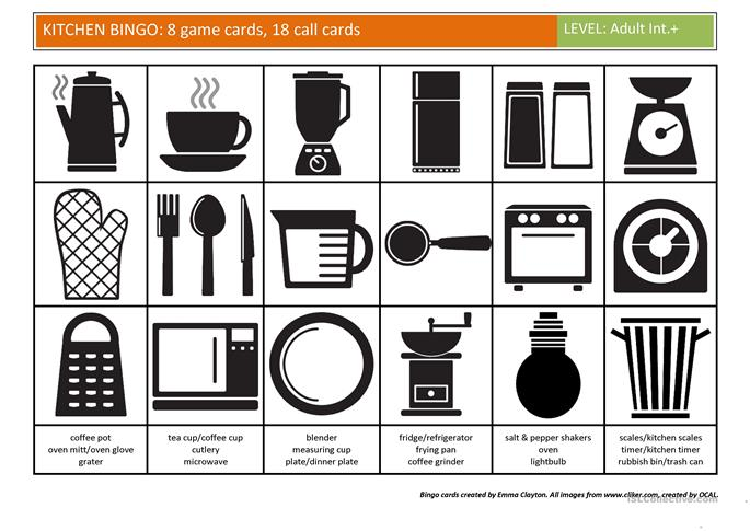 Kitchen Bingo worksheet  Free ESL printable worksheets