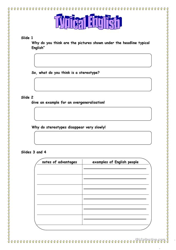 11 Free Esl Stereotypes Worksheets