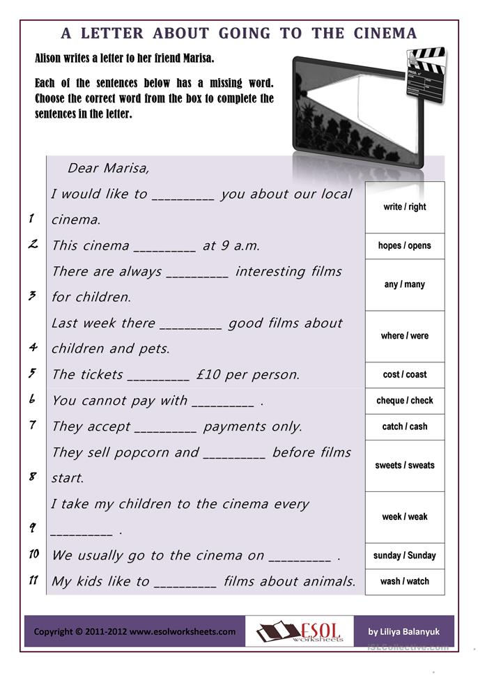 Going To The Cinema Worksheet