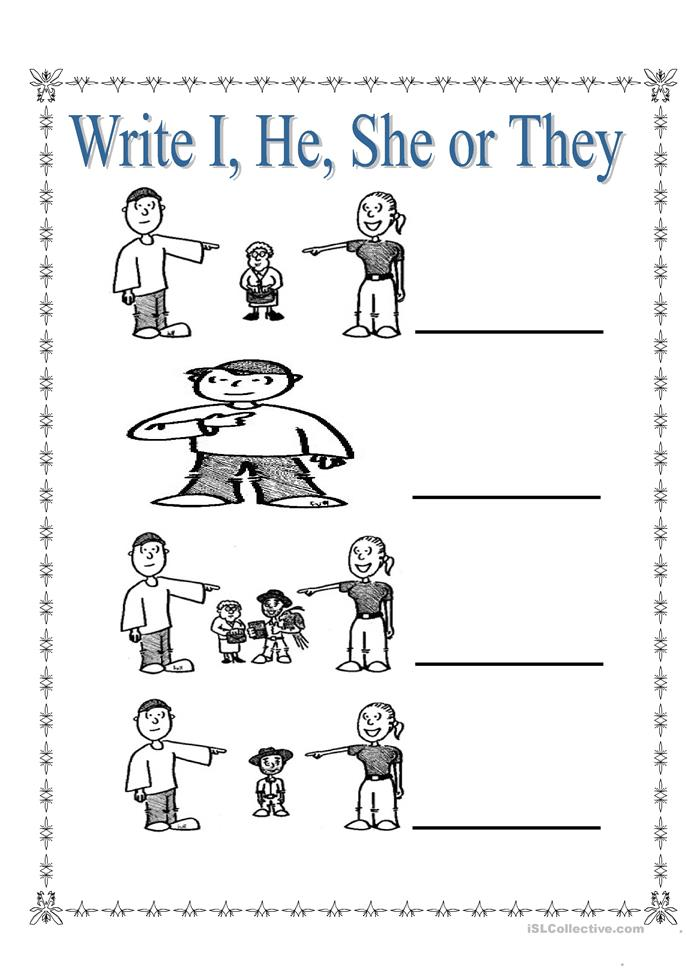 Personal Pronouns I She He And They Worksheet