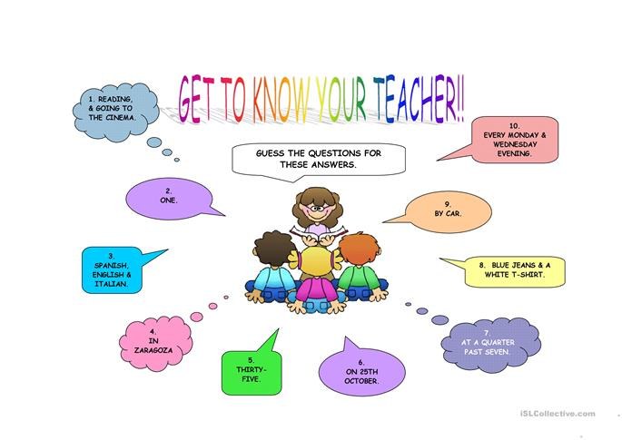 Get To Know Your Teacher First Day Activity Worksheet