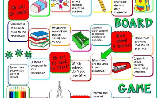 Back To School Board Game Worksheet Free Esl Printable