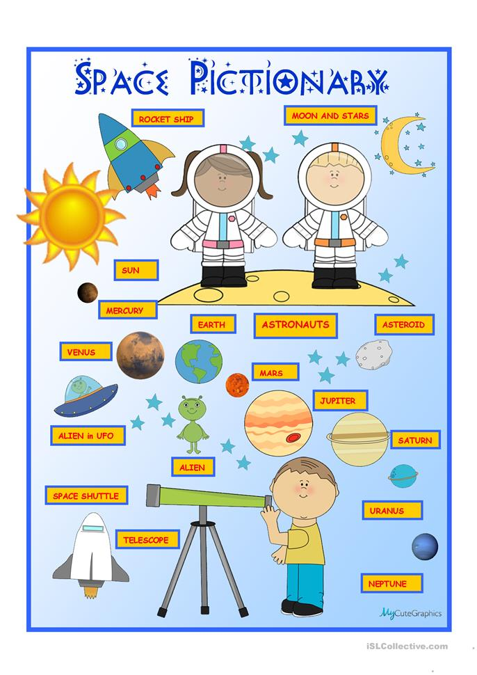 Space Pictionary Poster Worksheet  Free Esl Printable Worksheets Made By Teachers