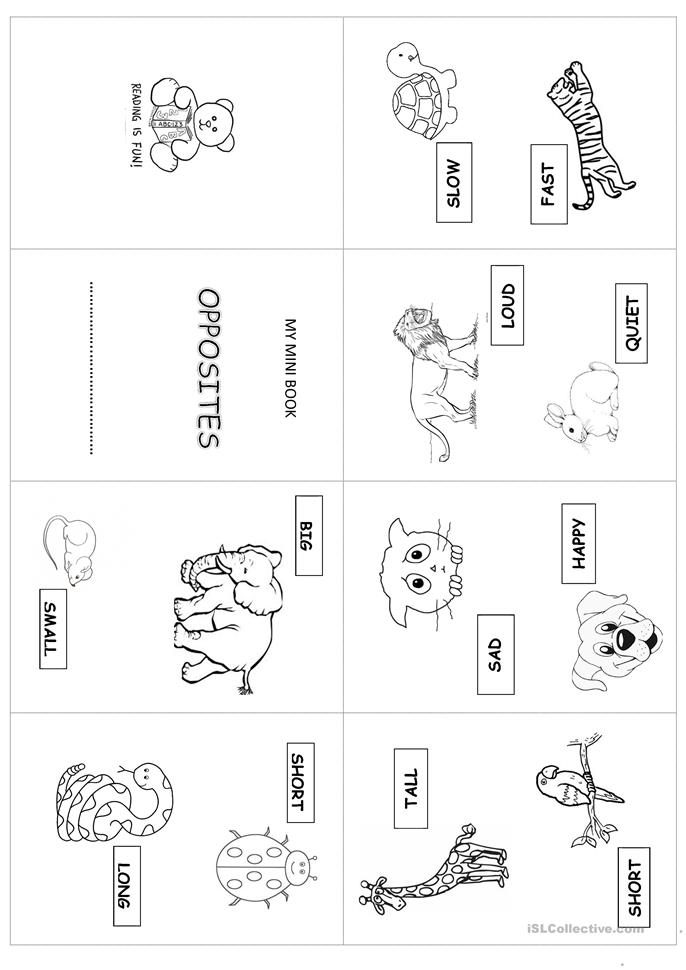 31 FREE ESL mini book worksheets