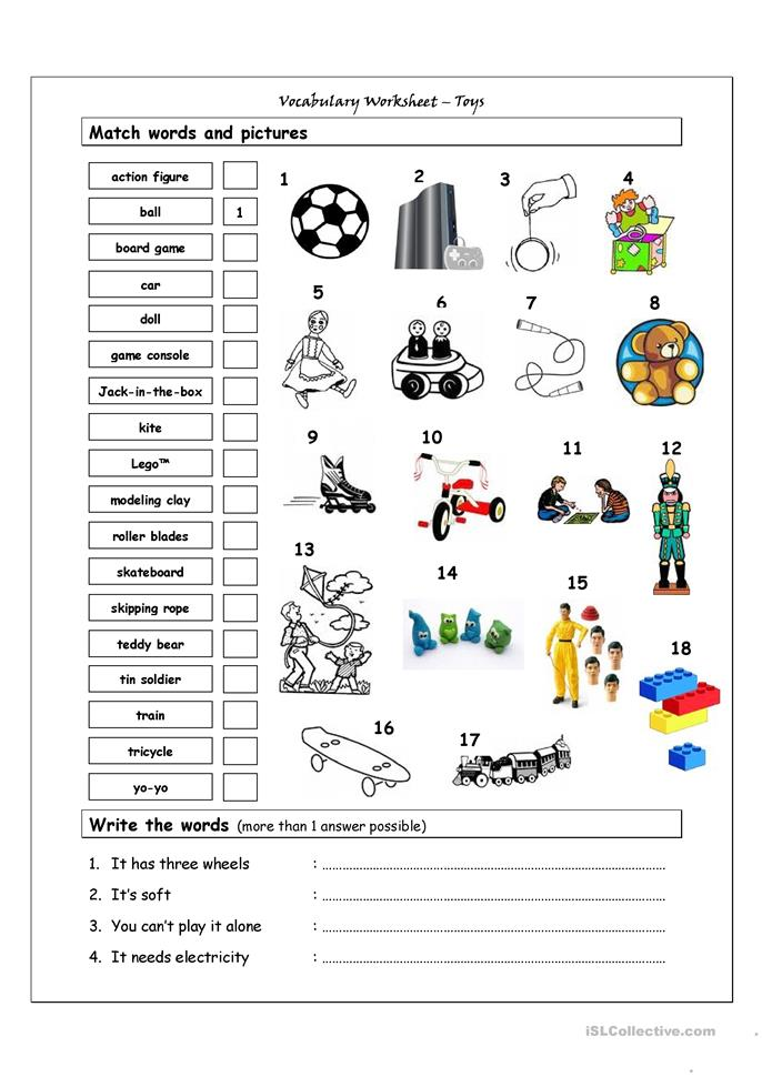 219 FREE ESL Toys worksheets