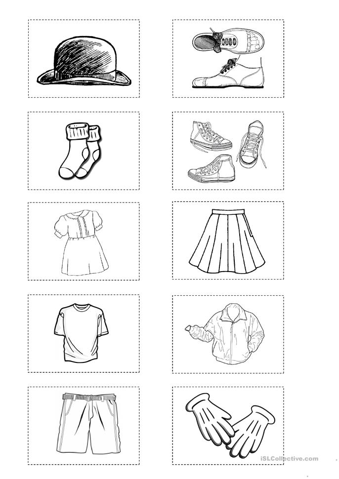 Clothes 18 Mini Flashcards Match Up Game Worksheet