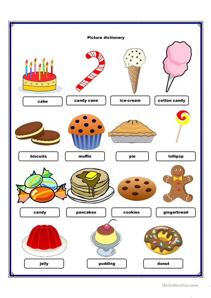 Picture Dictionary Sweets Worksheet Free ESL Printable