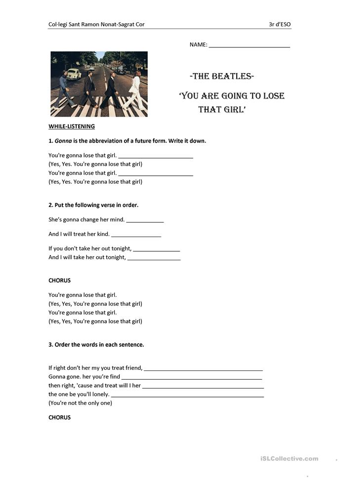 Song: The Beatles- You are going to lose that girl worksheet - Free ESL printable worksheets made by teachers