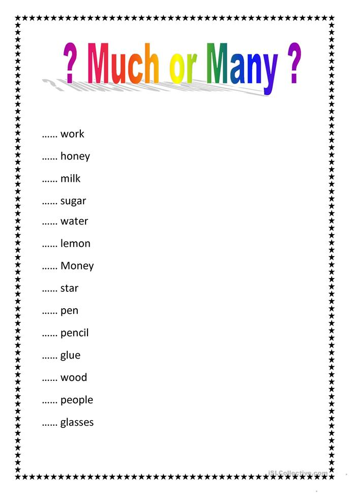 Much Or Many Worksheet