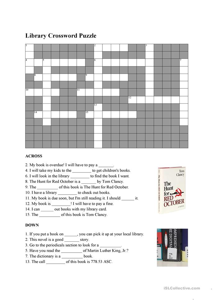 Library Vocabulary Crossword Worksheet