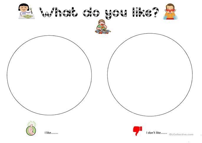 I (don't) like.... colouring for young learners worksheet