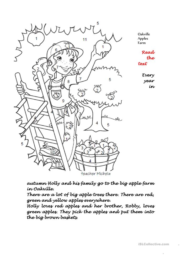 Reading comprehension: Oakville apple farm worksheet