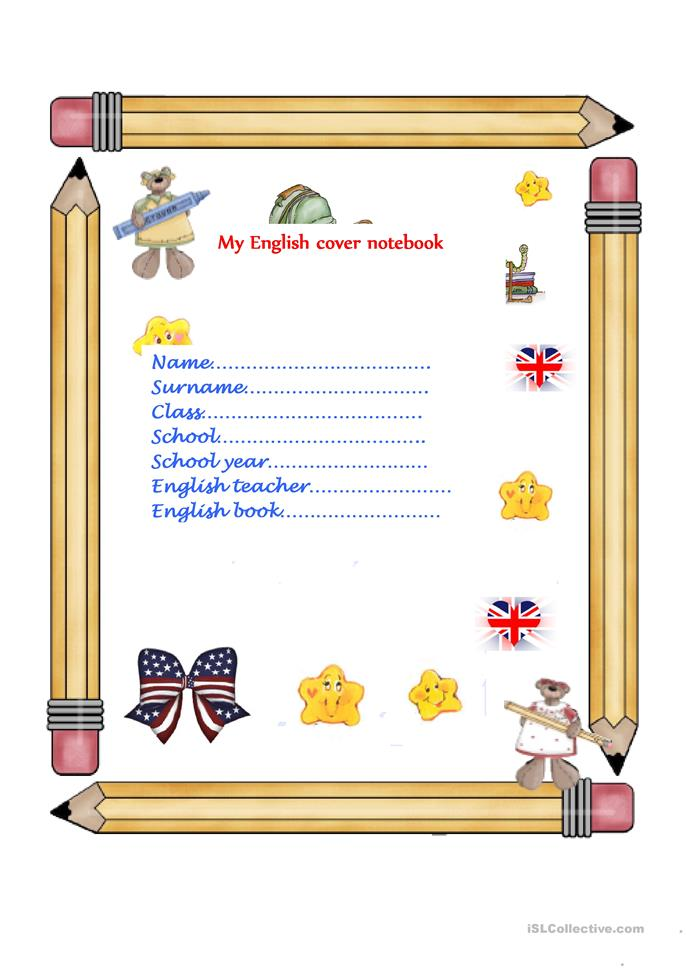 English cover notebook worksheet  Free ESL printable worksheets made by teachers