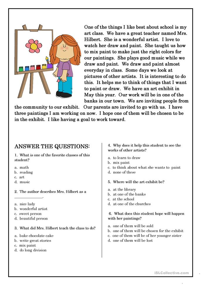 Reading Comprehension For Beginner And Elementary Students 5 Worksheet  Free Esl Printable